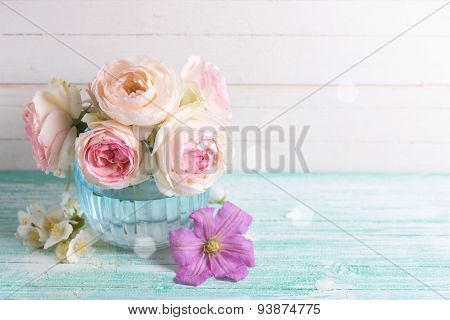 Fresh Roses, Jasmine And Clematis Flowers