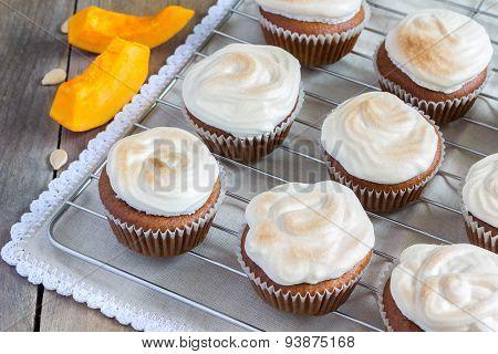 Homemade Pumpkin Cupcake Decorated With Meringue