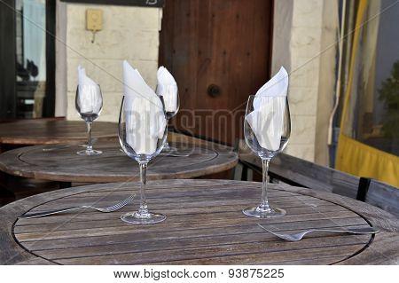 White napkins in a glasses