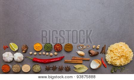 Spices and herbs selection background for decorate design project.