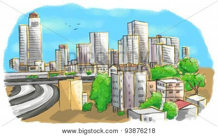 Colorful drawing of city skyline