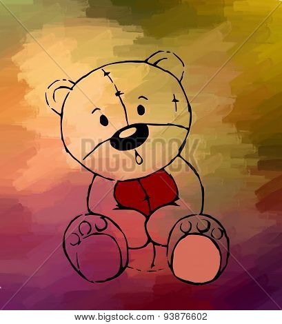 Teddy Bear Drawing On Colored Background