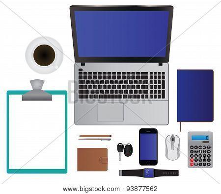 Business/office Set: Laptop, Smartphone, Notebook, Pencil, Pen, Etc. Top View.