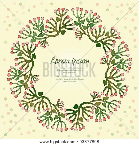 Vector Card With Round Floral Frame.