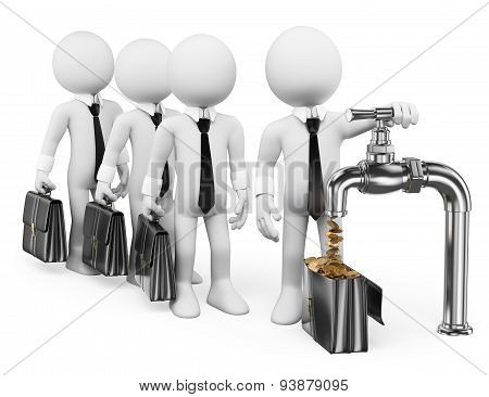 3D White People. Businessman Turning On The Money Tap