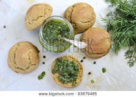 Small rye buns with oil with herbs