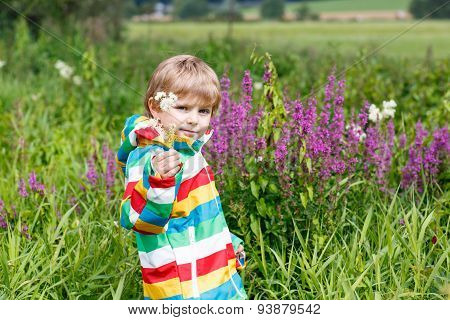 Little Blond Boy With Lot Of Wild Flowers