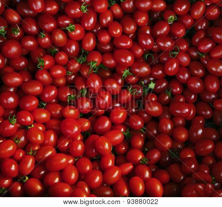 Close Up Group Of Red Tomatoes On Ground Use For Beautiful Backg