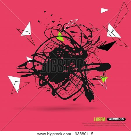 Abstract Background with Hipster Geometric Shapes and Ink Splatter