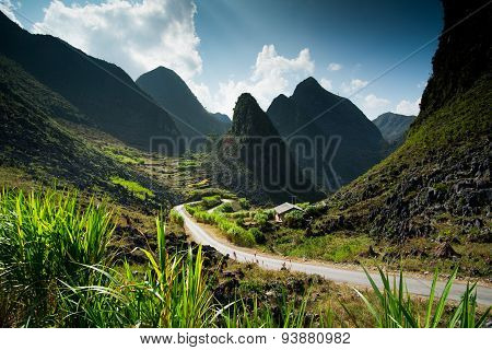 Amazing mountain landscape in Dong Van karst plateau global geological park, Hagiang, Vietnam