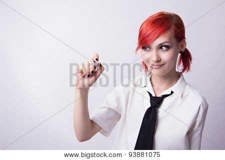 Red-haired Girl Writing Marker