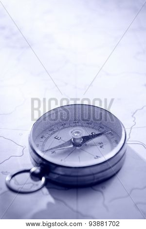 Close Up Of Needle Compass On Line Map
