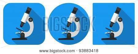 Icon Of Microscope In Flat Design