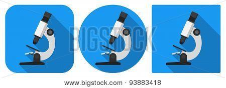 Icon Of Microscope In Flat Design