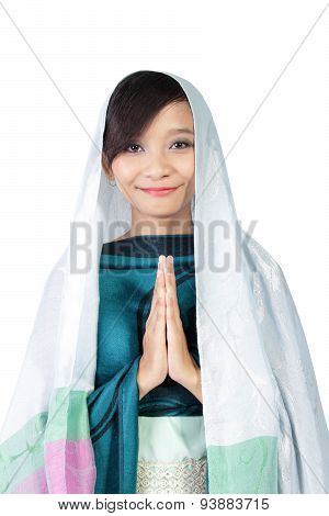 Muslim Girl Smiling To Camera, Isolated On White