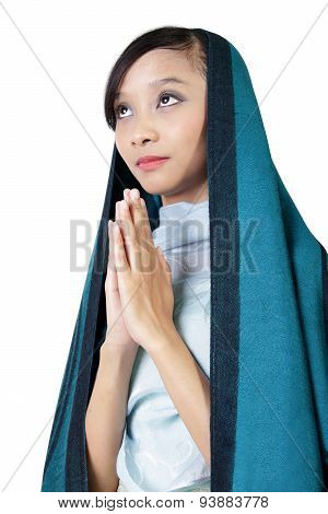 Catholic Woman Praying, Isolated On White