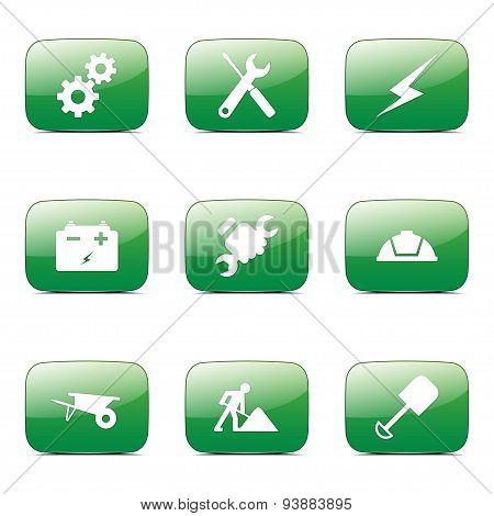 Construction Tools Square Vector Green Icon Design Set