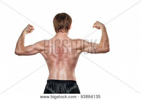 Fighter Shows The Back Muscles