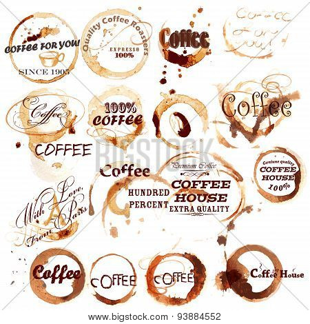 Vector Set Of Spot Grunge Elements From Coffee