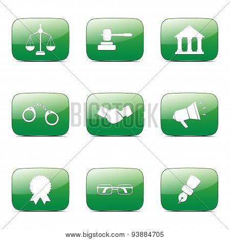 Law Sign Square Vector Green Icon Design Set