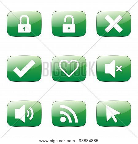 Seo Internet Sign Square Vector Green Icon Design Set 4