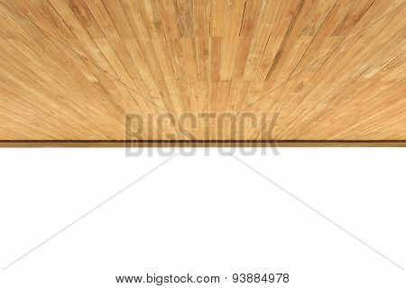 Close Up Wood Ceiling Isolated On White