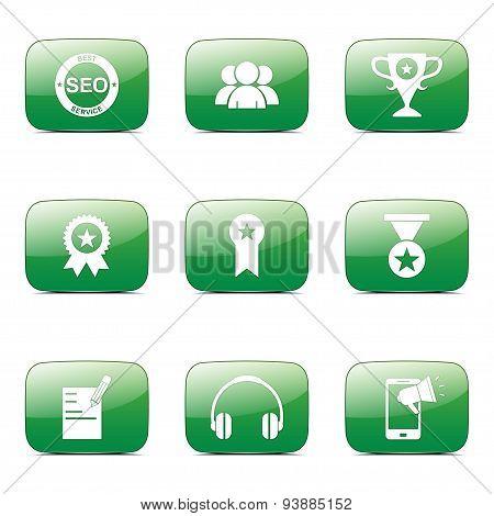 Seo Internet Sign Square Vector Green Icon Design Set 9