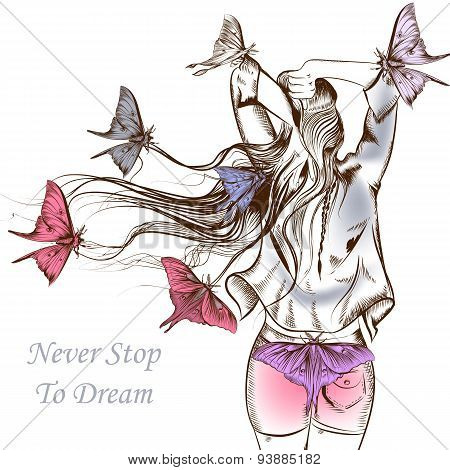 Fashion Vector Illustration Butterflies And A Long Haired Girl