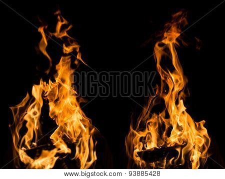 Real fire flames samples isolated on black