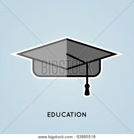 Education icon. Hat. Vector illustration.