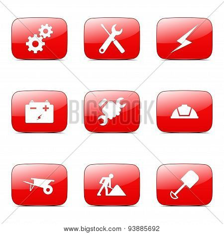 Construction Tools Square Vector Red Icon Design Set