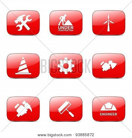 Construction Tools Square Vector Red Icon Design Set 2