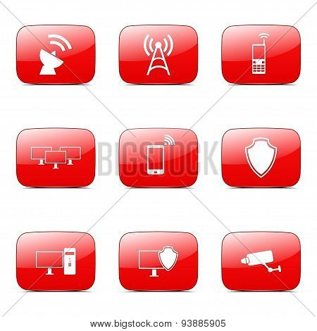 Telecom Communication Square Vector Red Icon Design Set