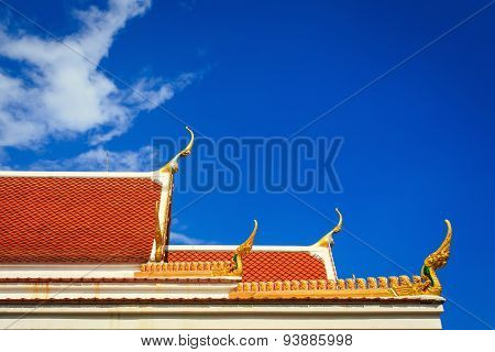Roof Gable In Thai Temple With Blue Sky