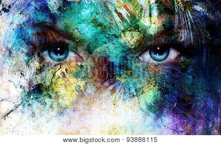 Beautiful Blue Women Eyes Beaming, Color Desert Crackle Effect, Painting Collage, Artist Makeup.