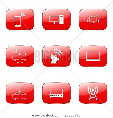 Telecom Communication Square Vector Red Icon Design Set 2