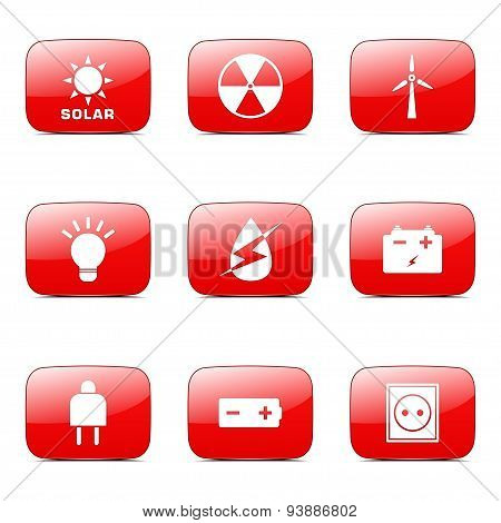 Energy Sign And Symbol Square Vector Red Icon