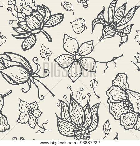 Illustration of seamless hand-drawn floral pattern for your design