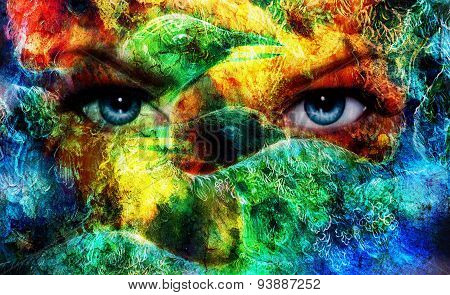 Beautiful Blue Women Eyes Beaming, Color Feathers Effect, Painting Collage, And Bird Phoenix, Artist