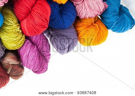 Colorful wool yarn balls