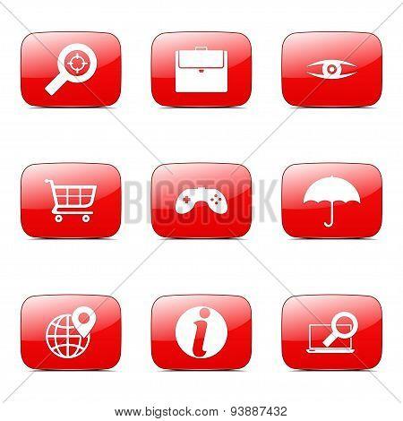 Seo Internet Sign Square Vector Red Icon Design Set 10