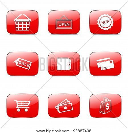 Shopping Sign Square Vector Red Icon Design Set 2