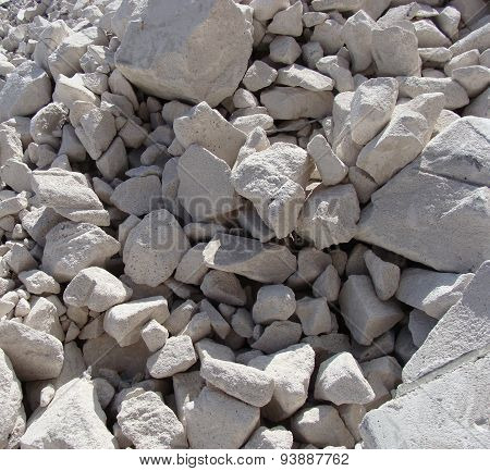 Large White Concrete Chunks Stacked In A Pile