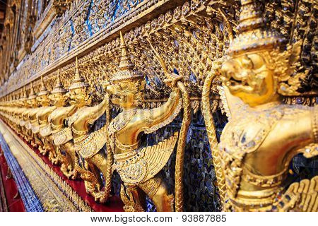 Golden Garuda Statues At Wat Phra Kaew In Grand Palace, Bangkok
