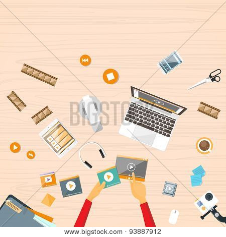 Hands Desk Laptop Watch Video Streaming Vector