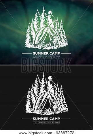 Vintage summer outdoor hiking and camping retro label, badge, design element with blurred background