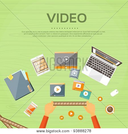 Video Editor Workplace Hands Laptop Player Flat
