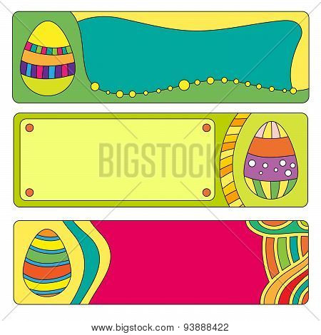 Easter banner or buttons with colorful eggs