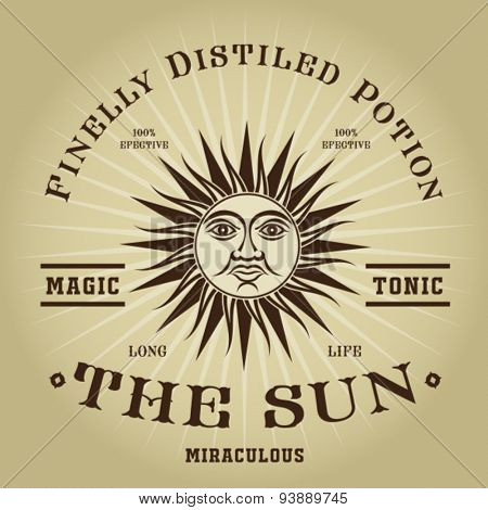 Vintage Retro The Sun Magic Tonic Seal