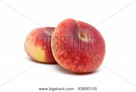 Ripe Peaches Close-up On A White Background
